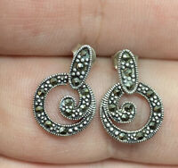 Vintage Sterling Silver 925 & Marcasite Dangle Post Pierced Earrings