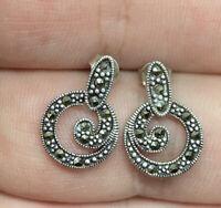 Vintage Sterling Silver 925 & Marcasite Dangle Post Pierced Earrings