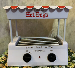 Nostalgia Electrics Old Fashioned Hot Dog Roller Grill & Bun Warmer Red & White