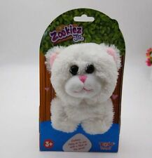 """New Zookiez 8"""" White Cat Soft Plush Toy Snaps On Your Wrist Kitten Official"""