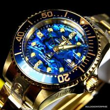 Womens Invicta Grand Diver Automatic 18kt Gold Plated Blue Abalone Watch New b219063d68