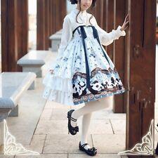 Mori Girl Kawaii Vintage Chinese Style Panda Print Sleeveless Dress Sweet Lolita