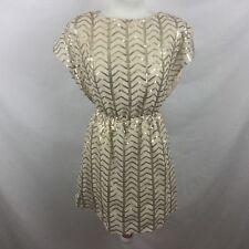 TFNC London Ladies Cream & Gold Sequin Short Tunic Style Dress Nipped Waist Sz10