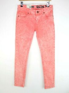 Volcom Oily Skinny Leg Womens Size W27 L28 Jeans Pink Rinse
