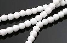 50 OPAQUE WHITE CZECH GLASS ROUND DRUK BEADS 6MM