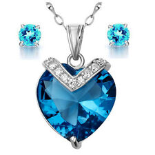 Love & Hearts Blue Topaz Pendant Necklace Earring Set .925 Sterling Silver Chain