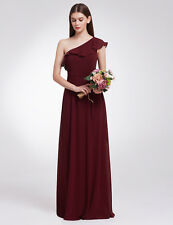 Ever-Pretty Long One Shoulder Evening Party Bridesmaid 07211 Burgundy Size 16