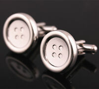 Fashion Silver Stainless Steel Buttons Cufflinks Men Wedding Party Gift