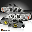 For Honda 1992-1995 Civic Clear Led Halo Projector Headlightsyellow Fog Lamps