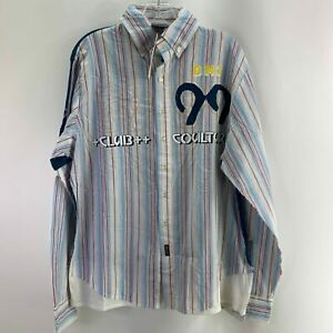 Diesel Mens L Large Multicolor Shirt Collared Long Sleeve Button Front Striped