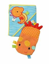 Taggies Baby Seahorse Hooded Towel and Mitt set 100% cotton