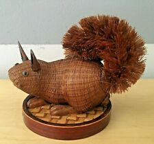Vintage Hand Crafted Chinese Bamboo Rattan Wicker Woven Squirrel Figurine