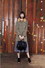 Louche Ronnie Leopard Jacquard Fur Collar Coat Size UK 8 RRP £95 SALEw LL 02