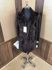 DAMSELLE MADE IN NEW YORK MAHOGANY SHEARED SECTIONS MINK FUR COAT JACKET 6 - 8