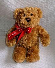 """F.A.O Toys R. Us Soft Brown Plush Teddy Bear w/ Red Bow 8"""" Stuffed Animal"""
