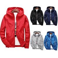 Mens Fashion Windbreaker Jackets Casual Hooded Jackets  Zipper Jackets