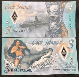 Cook Islands 3 dollars 2021 Shark UNC