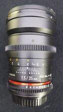 Rokinon 35mm t/1.5 AS UMC Lens For Canon w/ B&W UV Haze Filter - USED