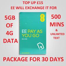 Oficial EE 4G Superfast Tarjeta Nano Sim para iPhone y Samsung y 5GB Net/500 minutos