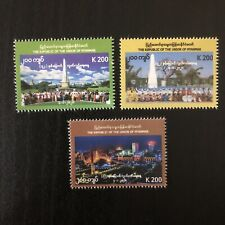 Myanmar (2020) 72nd Independence Day Commemorative Stamps 3x 200K (MNH)