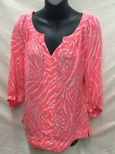 Womens XS Lilly Pulitzer Moxy Peasant Top in Coral/Pink & White