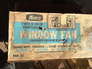 "Vintage Marvin model 282 Dual 8"" Metal Window electric screen fan. Tested works."