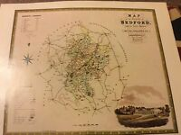 BEDFORDFORDSHIRE REPRO.OF MAP BY GREENWOOD 1825 ANTIQUE  MAPS OF BRITAIN 102