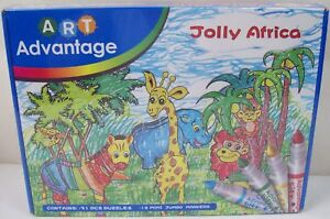 Art Advantage Jolly Africa DIY 3D Puzzles - 31 Puzzles and 12 Coloured Markers