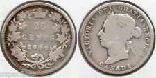 Rare Victorian 1886 Canadian silver quarter 25 cents in circulated condition
