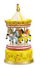 """Carillon in legno """"giostra di cavalli"""", altezza cm 21"""