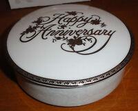 Vtg Mikasa Silver Happy Anniversary Fine China Lidded Candy Dish Bowl & Orig Box