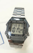 CASIO Big Digital Dual time Watch Silver tone metal band A178W  A178
