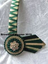 """Green and Gold Satin Show Browband. Any Size. Made to order.  3/4"""" leather base."""