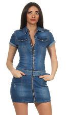 Minikleid Jeanskleid Stretch Kleid Demin Reisverschluss Stone Washed 34-42