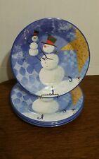 SET 4-SAKURA EVOLUTION HOLIDAY CHRISTMAS BLUE SNOW PALS MELAMINE DINNER PLATES