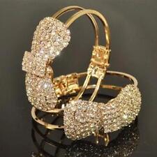 Festive Bracelet Cuff Jewelry Bowknot Design Bangle Full Embedded Cystal