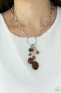 Paparazzi Jewelry Necklace-Lay Down Your CHARMS-Brown-