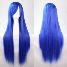 Royal Blue 80cm Women Long Straight Hair Wig Fashion Costume Party Anime Cosplay