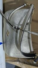 COACH Metallic Leather Chelsea Crossbody Shoulder Bag Metallic Platinum Gold