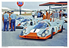 VINTAGE REPRODUCTION RACING POSTER GULF PORSCHES DAYTONA PIT ROW
