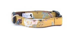 Mustard Yellow Floral Handmade Dog Collar OR Lead. Size S- XL - 1 inch wide