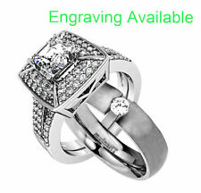 Zirconia Wedding Engagement Ring Set ao His Hers 3 Piece Stainless Steel Cubic