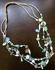 TURQUOISE & Sterling Charm FETISH Necklace -features ARIZONA       D-3