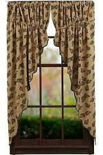 """New Country Cabin Cotton Burlap PINE CONE Green Brown Prairie Swags Curtains 63"""""""
