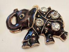 Alloy Enamel Elephant Pendant with Crystal Rhinestone, Gold 48x38x7mm,
