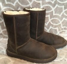 Ugg Australia Women's Size 6 Classic Short Brown Leather Surfer Boots 1005093