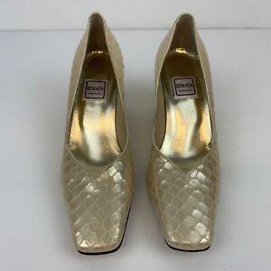 Renata Women's Mother Bride Chunky Heel Square Toe Ivory Shoes Shiny UK 3.5