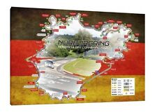 Nurburgring Nordschleife Circuit Map - 30x20 Inch Canvas Framed Picture
