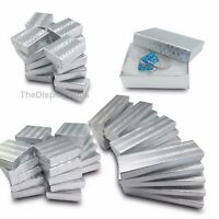 50 pcs Silver Foil Cotton Filled Jewelry Gift Boxes With Variety Of Sizes