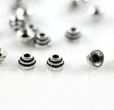 Stepped Bead Caps, TierraCast, Silver PlatePewter, Tiny 4mm., 10 Pieces
